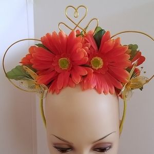 Floral headband with wire crown and mouse ears